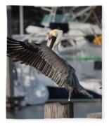 Harbor Pelican And Gull Fleece Blanket