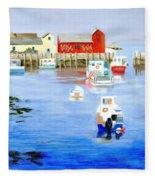 Harbor Scene Fleece Blanket