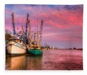 Harbor Sunset Fleece Blanket
