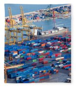 Harbor With Lots Of Cargo Fleece Blanket