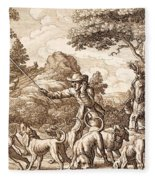 Hare Hunting, Engraved By Wenceslaus Fleece Blanket