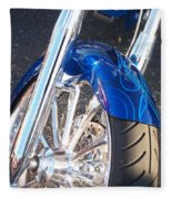 Harley Close-up Blue Flame  Fleece Blanket