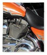 Harley Close-up Orange 1 Fleece Blanket