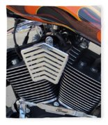Harley Close-up Orange Flame Fleece Blanket