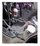 Harley Close-up Purple Lights Fleece Blanket