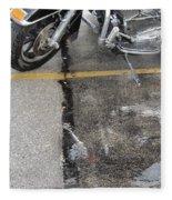 Harley Close-up Rain Reflections Tall Fleece Blanket
