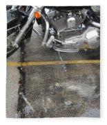 Harley Close-up Rain Reflections Wide Fleece Blanket