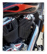 Harley Close-up Red Flame 1 Fleece Blanket