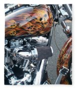 Harley Close-up Skull Flame  Fleece Blanket