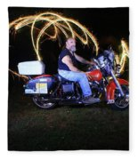 Harley Davidson Light Painting Fleece Blanket