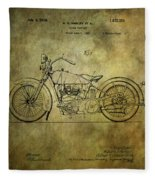Harley Davidson Motorbike Patent  Fleece Blanket