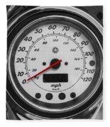 Harley Davidson Motorcycle Speedometer Harley Bike Bw  Fleece Blanket