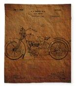 Harley Davidson Patent  Fleece Blanket