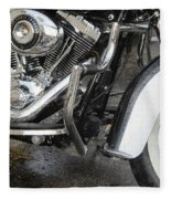 Harley Engine Close-up Rain 1 Fleece Blanket