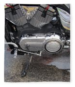 Harley Engine Close-up Yellow Line Fleece Blanket