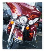 Harley Red W Orange Flames Fleece Blanket