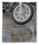 Harley Reflection In Rain  Fleece Blanket