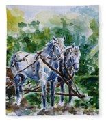 Harnessed Horses Fleece Blanket