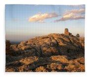 Harney Peak At Dusk Fleece Blanket