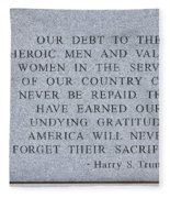 Harry S Truman Quote Memorial Fleece Blanket