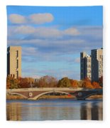 Harvard Towers Over The Charles Fleece Blanket