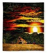 Harvest Moon And Late Barn Fleece Blanket