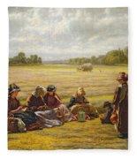 Harvesters Resting In The Sun, Berkshire, 1865 Oil On Canvas Fleece Blanket