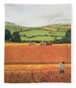 Harvesting In The Cotswolds Fleece Blanket