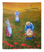 Harvesting Poppies In Tuscany Fleece Blanket