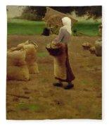 Harvesting Potatoes Oil On Canvas Fleece Blanket