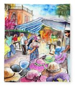 Hat Shopping At Turre Market Fleece Blanket