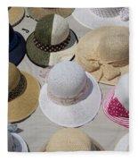Hats For Sale Next To Marina, Lerici Fleece Blanket