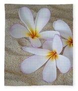 Hawaiian Tropical Plumeria Fleece Blanket
