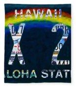 Hawaii License Plate Fleece Blanket