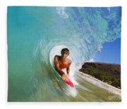 Hawaii, Maui, Makena - Big Beach, Boogie Boarder Riding Barrel Of Beautiful Wave Along Shore. Fleece Blanket
