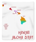 Hawaii State Map Collection 2 Fleece Blanket
