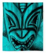 Hawaiian Aquamarine Mask Fleece Blanket