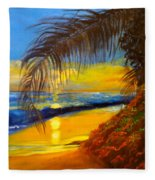 Hawaiian Coastal Sunset Fleece Blanket