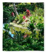 Hawaiian Cultural Garden Honolulu Airport Fleece Blanket
