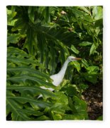 Hawaiian Garden Visitor - A Bright White Egret In The Lush Greenery Fleece Blanket