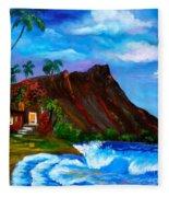 Hawaiian Homestead At Diamond Head Fleece Blanket
