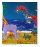 Hawaiian Lei Parade Fleece Blanket