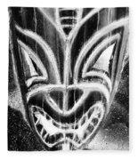 Hawaiian Mask Negative Black And White Fleece Blanket