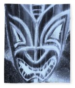 Hawaiian Mask Negative Cyan Fleece Blanket