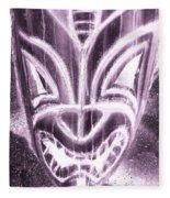 Hawaiian Mask Negative Pink Fleece Blanket