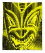 Hawaiian Mask Negative Yellow Fleece Blanket