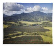 Hawaiian Pineapple Fields Fleece Blanket
