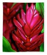 Hawaiian Red Torch Ginger Fleece Blanket