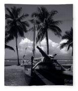 Hawaiian Sailing Canoe Maui Hawaii Fleece Blanket