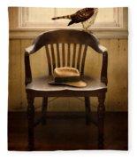 Hawk And Fedora On Chair Fleece Blanket